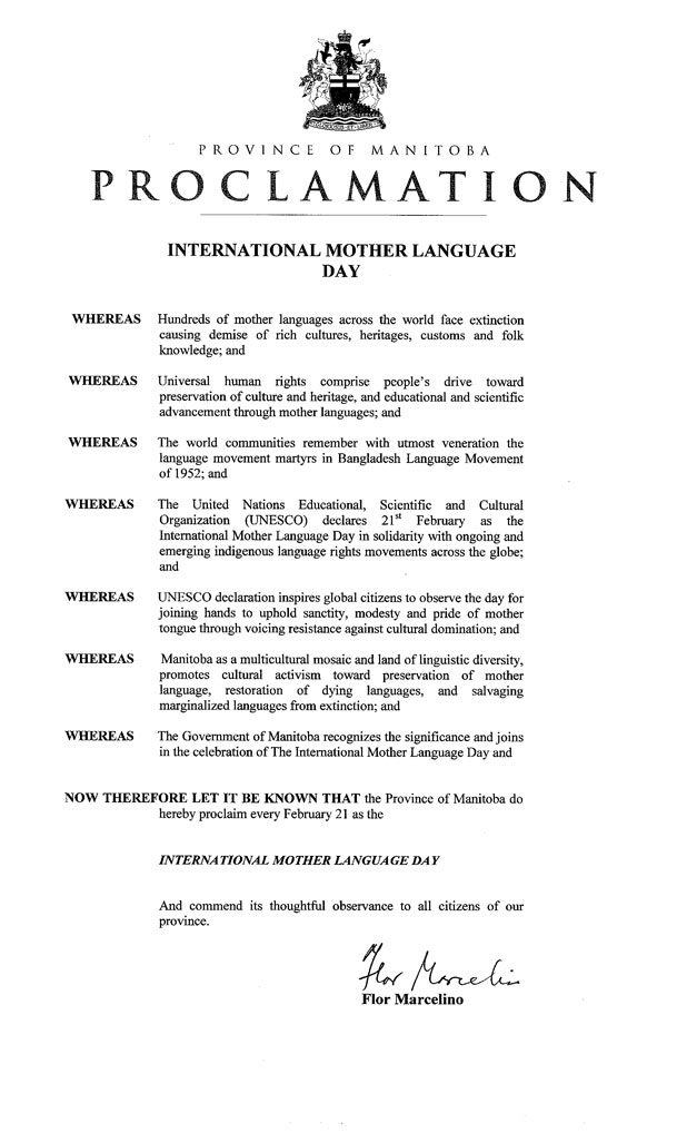 Proclamation for the Province of Manitoba
