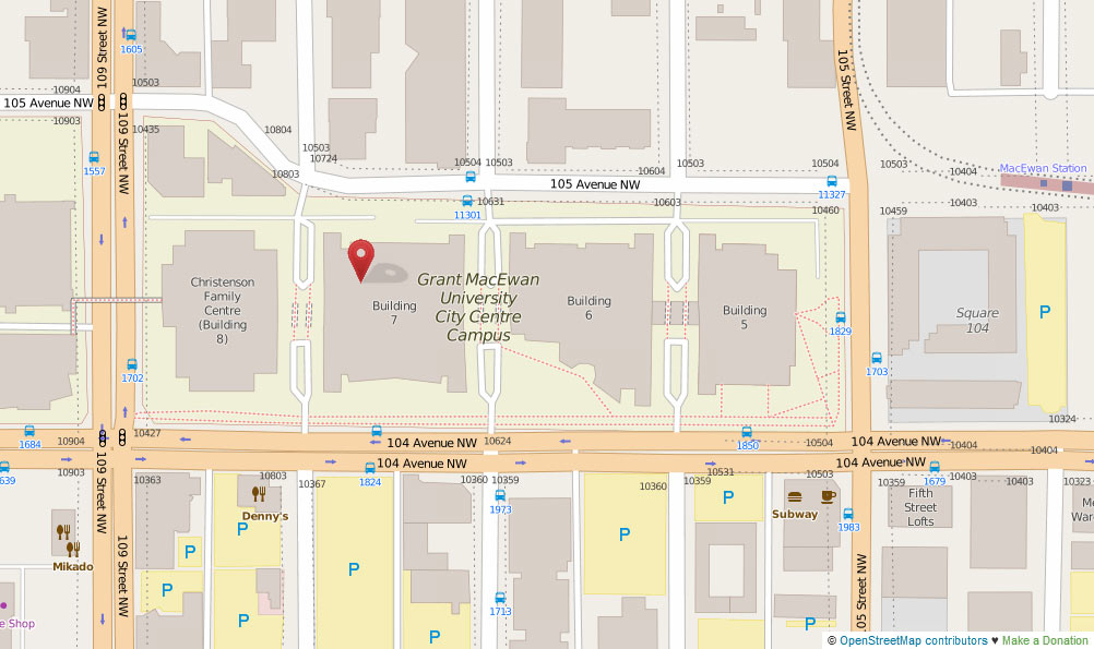 Map of the area around Grant MacEwan University